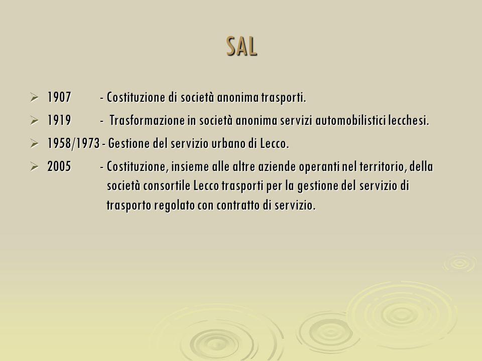 SAL  1907 - Costituzione di società anonima trasporti.  1919 - Trasformazione in società anonima servizi automobilistici lecchesi.  1958/1973 - Ges