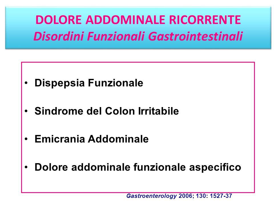 Dispepsia Funzionale Sindrome del Colon Irritabile Emicrania Addominale Dolore addominale funzionale aspecifico Gastroenterology 2006; 130: 1527-37 DO