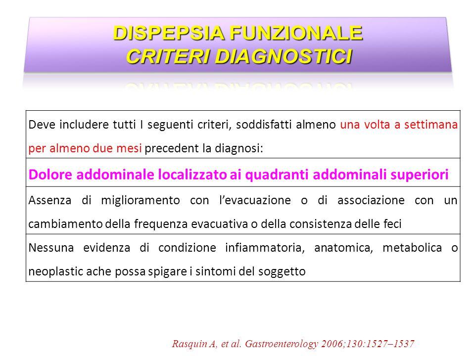 Rasquin A, et al. Gastroenterology 2006;130:1527–1537 Deve includere tutti I seguenti criteri, soddisfatti almeno una volta a settimana per almeno due
