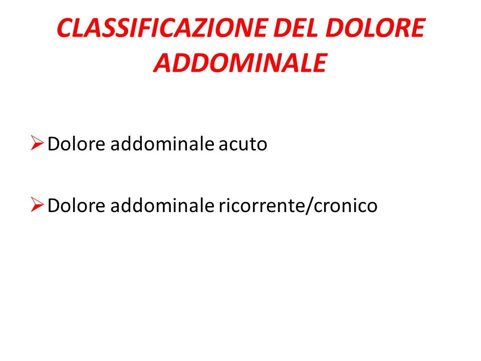 CLASSIFICAZIONE DEL DOLORE ADDOMINALE  Dolore addominale acuto  Dolore addominale ricorrente/cronico