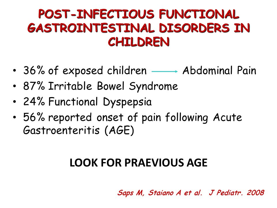 36% of exposed children Abdominal Pain 87% Irritable Bowel Syndrome 24% Functional Dyspepsia 56% reported onset of pain following Acute Gastroenteritis (AGE) LOOK FOR PRAEVIOUS AGE POST-INFECTIOUS FUNCTIONAL GASTROINTESTINAL DISORDERS IN CHILDREN Saps M, Staiano A et al.