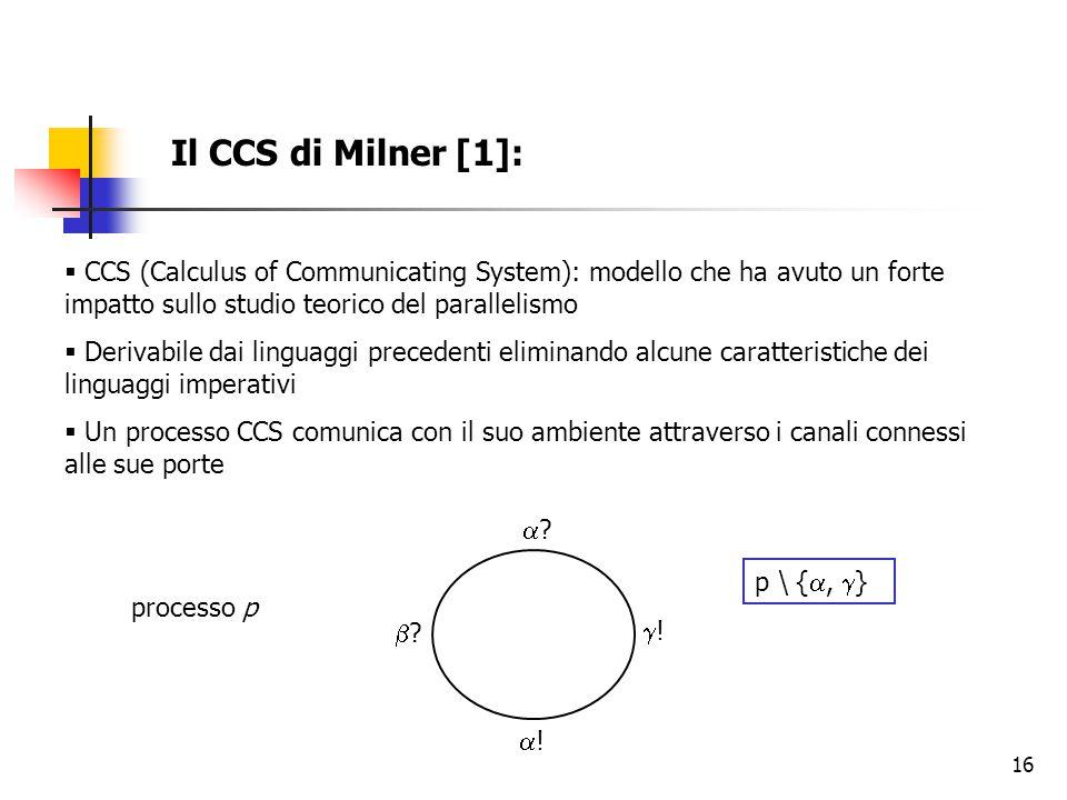 16 Il CCS di Milner [1]:  CCS (Calculus of Communicating System): modello che ha avuto un forte impatto sullo studio teorico del parallelismo  Derivabile dai linguaggi precedenti eliminando alcune caratteristiche dei linguaggi imperativi  Un processo CCS comunica con il suo ambiente attraverso i canali connessi alle sue porte processo p ?.