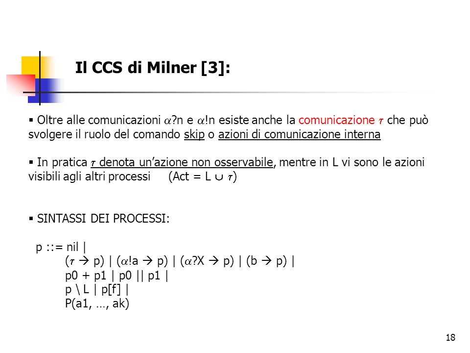 18 Il CCS di Milner [3]:  Oltre alle comunicazioni  ?n e  !n esiste anche la comunicazione  che può svolgere il ruolo del comando skip o azioni di comunicazione interna  In pratica  denota un'azione non osservabile, mentre in L vi sono le azioni visibili agli altri processi (Act = L   )  SINTASSI DEI PROCESSI: p ::= nil | (   p) | (  !a  p) | (  ?X  p) | (b  p) | p0 + p1 | p0 || p1 | p \ L | p[f] | P(a1, …, ak)