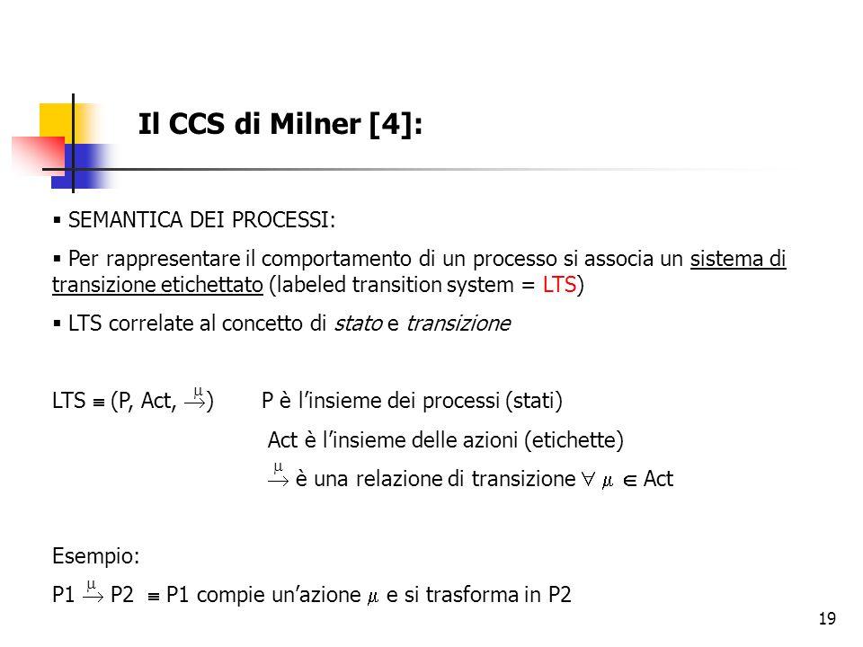 19 Il CCS di Milner [4]:  SEMANTICA DEI PROCESSI:  Per rappresentare il comportamento di un processo si associa un sistema di transizione etichettato (labeled transition system = LTS)  LTS correlate al concetto di stato e transizione LTS  (P, Act,  ) P è l'insieme dei processi (stati) Act è l'insieme delle azioni (etichette)  è una relazione di transizione    Act Esempio: P1  P2  P1 compie un'azione  e si trasforma in P2   