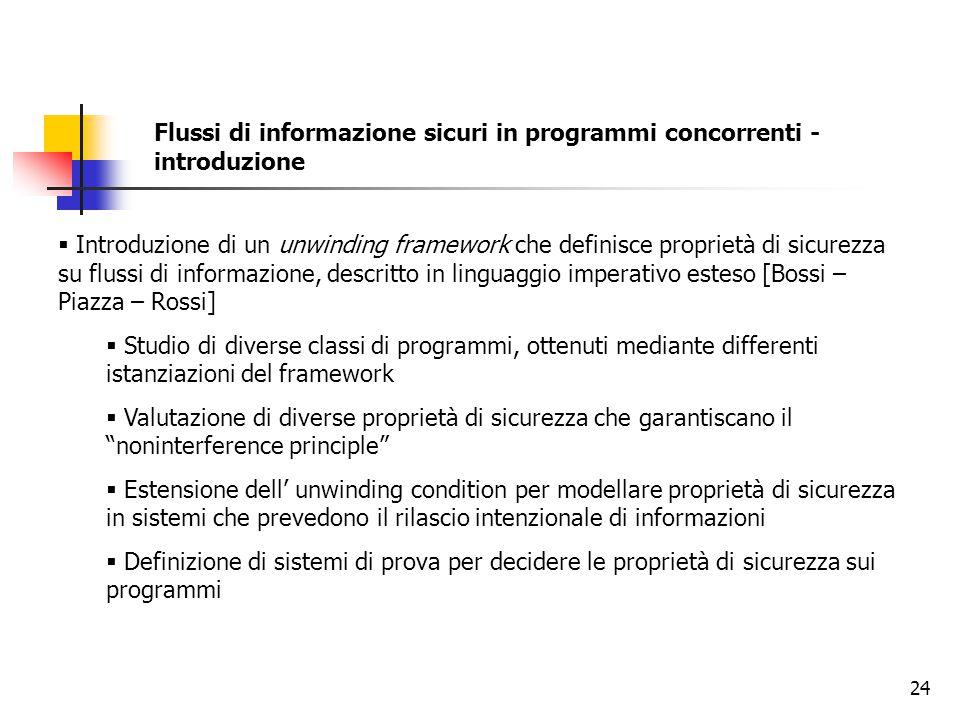 24 Flussi di informazione sicuri in programmi concorrenti - introduzione  Introduzione di un unwinding framework che definisce proprietà di sicurezza
