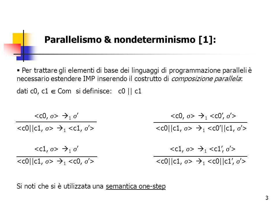 3 Parallelismo & nondeterminismo [1]:  Per trattare gli elementi di base dei linguaggi di programmazione paralleli è necessario estendere IMP inserendo il costrutto di composizione parallela: dati c0, c1  Com si definisce: c0 || c1  1  '  1  1  1  1  '  1  1  1 Si noti che si è utilizzata una semantica one-step