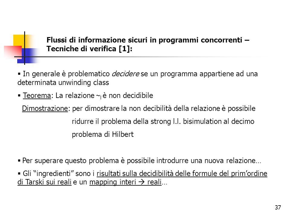 37 Flussi di informazione sicuri in programmi concorrenti – Tecniche di verifica [1]:  In generale è problematico decidere se un programma appartiene