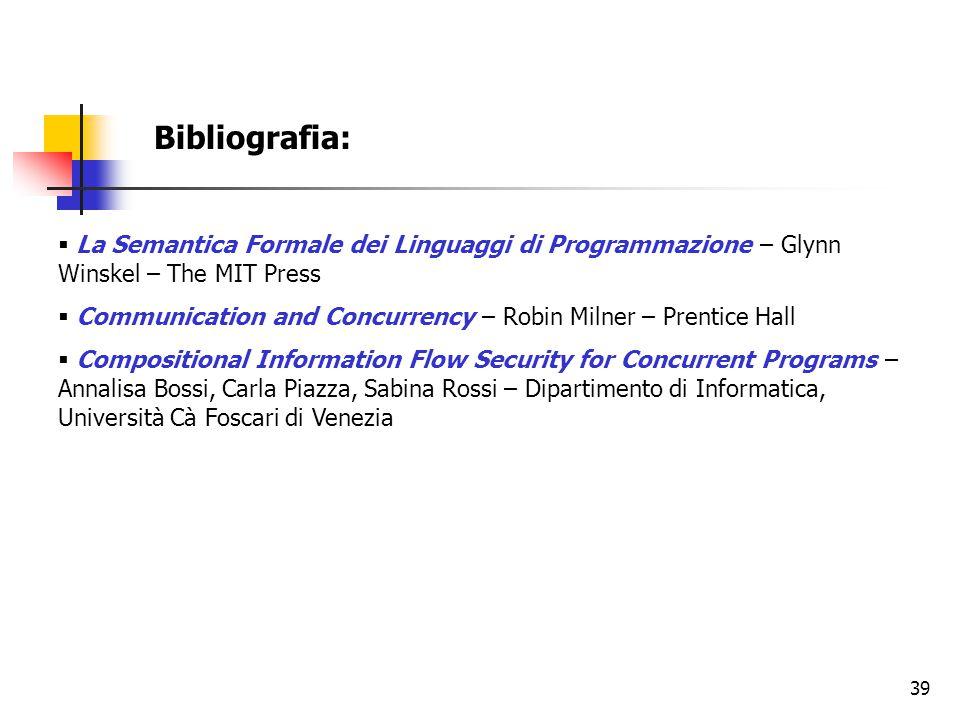 39 Bibliografia:  La Semantica Formale dei Linguaggi di Programmazione – Glynn Winskel – The MIT Press  Communication and Concurrency – Robin Milner