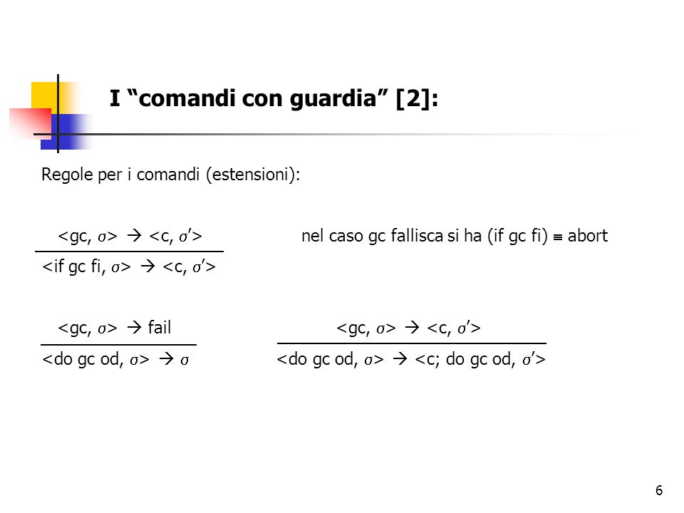 """6 I """"comandi con guardia"""" [2]: Regole per i comandi (estensioni):  nel caso gc fallisca si ha (if gc fi)  abort   fail    """