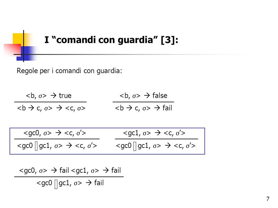 """7 I """"comandi con guardia"""" [3]: Regole per i comandi con guardia:  true  false   fail    fail  fail  fail"""