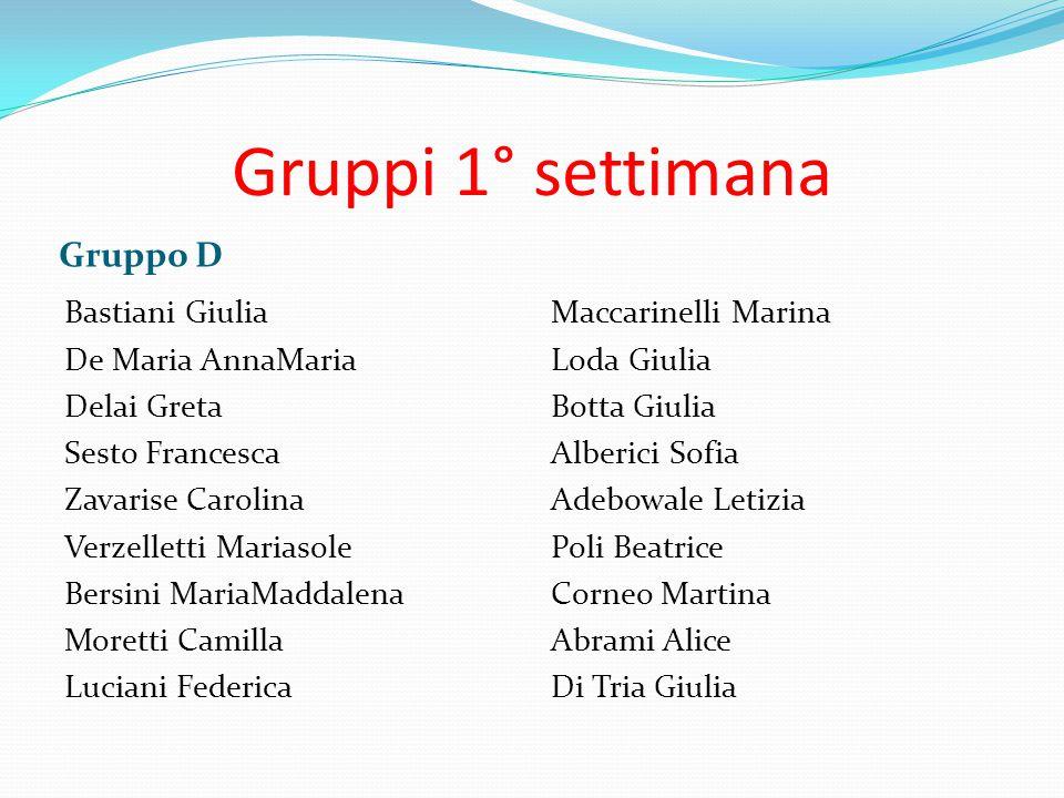 Gruppi 1° settimana Gruppo D Bastiani Giulia De Maria AnnaMaria Delai Greta Sesto Francesca Zavarise Carolina Verzelletti Mariasole Bersini MariaMadda