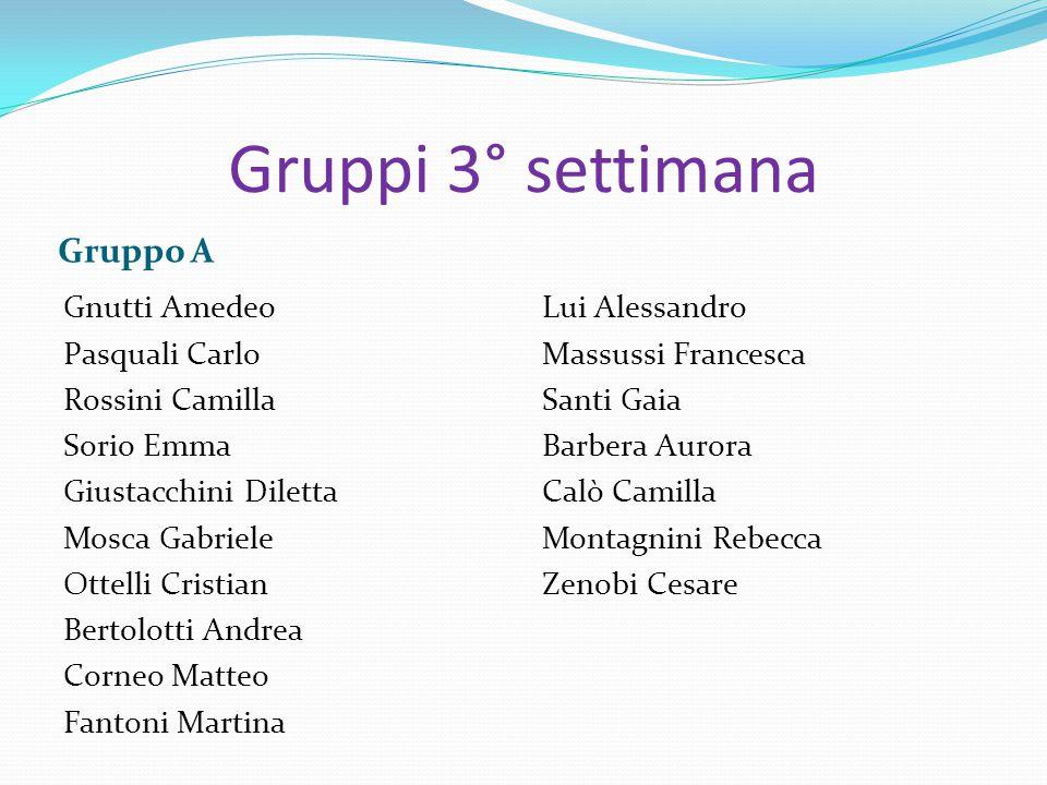 Gruppi 3° settimana Gruppo A Gnutti Amedeo Pasquali Carlo Rossini Camilla Sorio Emma Giustacchini Diletta Mosca Gabriele Ottelli Cristian Bertolotti A