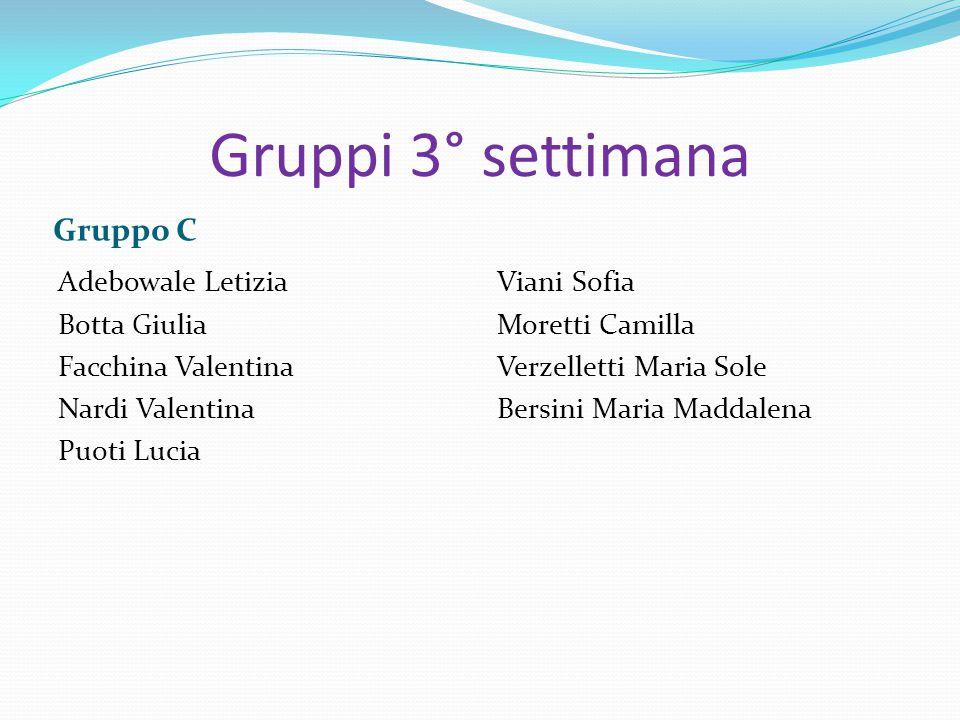 Gruppi 3° settimana Gruppo C Adebowale Letizia Botta Giulia Facchina Valentina Nardi Valentina Puoti Lucia Viani Sofia Moretti Camilla Verzelletti Mar