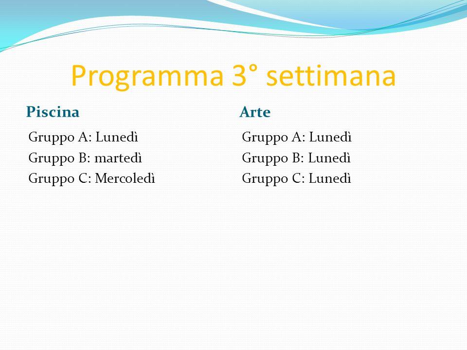 Programma 3° settimana Piscina Arte Gruppo A: Lunedì Gruppo B: martedì Gruppo C: Mercoledì Gruppo A: Lunedì Gruppo B: Lunedì Gruppo C: Lunedì