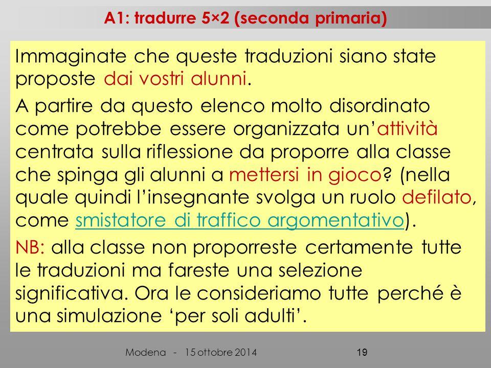 A1: tradurre 5×2 (seconda primaria) Modena - 15 ottobre 2014 19 Immaginate che queste traduzioni siano state proposte dai vostri alunni.