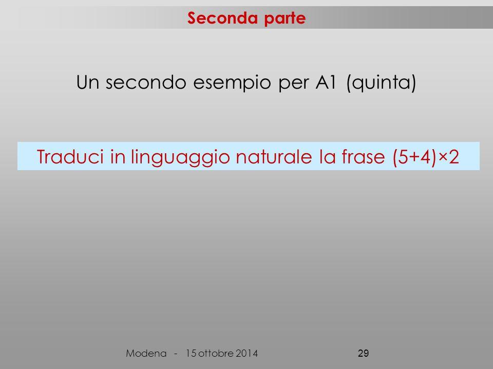 Seconda parte Modena - 15 ottobre 2014 29 Traduci in linguaggio naturale la frase (5+4)×2 Un secondo esempio per A1 (quinta)