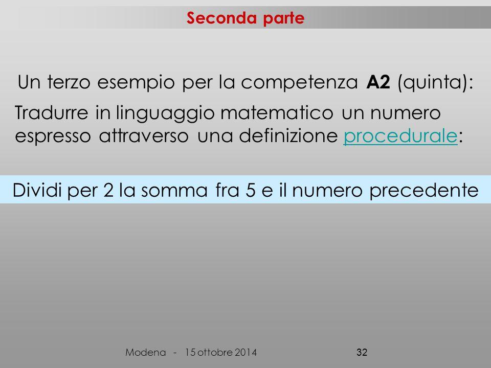 Seconda parte Modena - 15 ottobre 2014 32 Dividi per 2 la somma fra 5 e il numero precedente Un terzo esempio per la competenza A2 (quinta): Tradurre in linguaggio matematico un numero espresso attraverso una definizione procedurale:procedurale