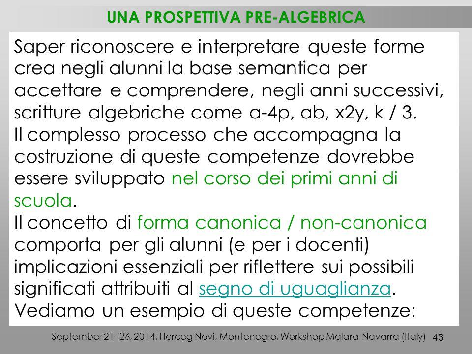 43 September 21–26, 2014, Herceg Novi, Montenegro, Workshop Malara-Navarra (Italy) Saper riconoscere e interpretare queste forme crea negli alunni la base semantica per accettare e comprendere, negli anni successivi, scritture algebriche come a-4p, ab, x2y, k / 3.