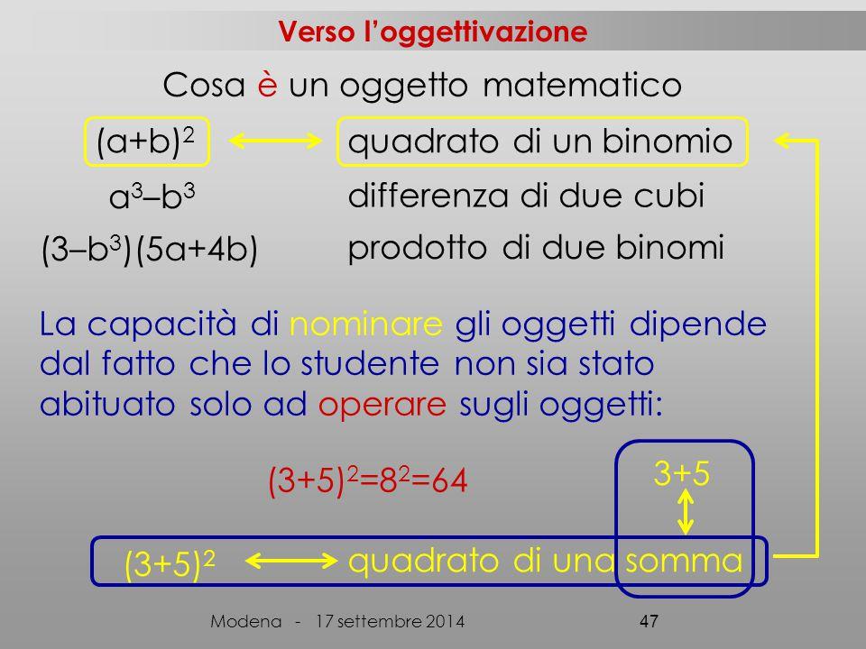 Cosa è un oggetto matematico (3+5) 2 (a+b) 2 quadrato di un binomio a 3 –b 3 differenza di due cubi (3–b 3 )(5a+4b) prodotto di due binomi quadrato di una somma (3+5) 2 =8 2 =64 La capacità di nominare gli oggetti dipende dal fatto che lo studente non sia stato abituato solo ad operare sugli oggetti: 3+5 Verso l'oggettivazione Modena - 17 settembre 2014 47