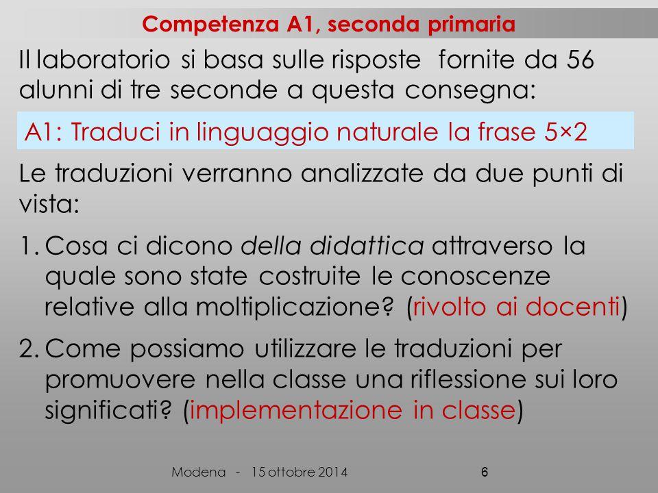 a)(4+5):2 (13, 3) b)(5+4):2=4,5 (1) c)9:2= (1, 2) d)5+4=9 9:2=4,5 (1) e)9:2=4,5 (2) A2: tradurre 'Dividi per due la somma fra 5 e il numero precedente' (V) Modena - 15 ottobre 2014 37 (Classe ArAl, non ArAl) Molti alunni si rendono conto che la consegna chiede di tradurre, e non di effettuare operazioni e propongono di cancellare le scritture che contengono le operazioni e/o il risultato.