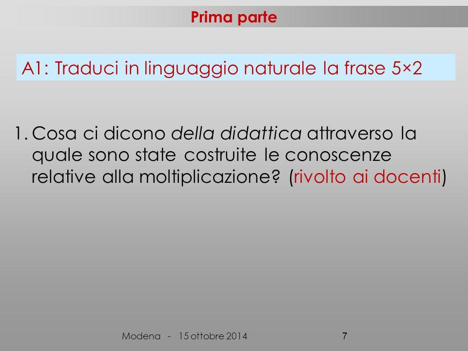 5 per due Moltiplico 5 per 2 Ripeto 5 per 2 volte Raddoppio 5 Modena - 15 ottobre 2014 28 Prodotto fra 5 e 2 Doppio di 5 Definizioni procedurali Definizioni relazionali Competenza A1: tradurre 5×2 (seconda primaria)