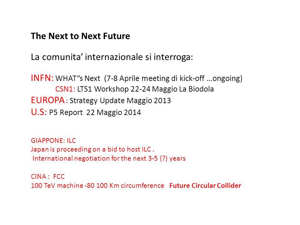 "The Next to Next Future La comunita' internazionale si interroga: INFN: WHAT""s Next (7-8 Aprile meeting di kick-off …ongoing) CSN1: LTS1 Workshop 22-2"