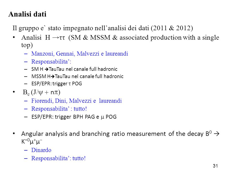 Il gruppo e` stato impegnato nell'analisi dei dati (2011 & 2012) Analisi H →ττ (SM & MSSM & associated production with a single top) – Manzoni, Gennai