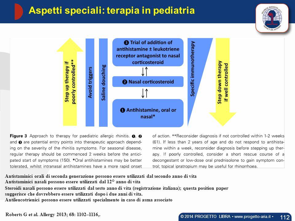 Aspetti speciali: terapia in pediatria 112 © 2014 PROGETTO LIBRA www.progetto-aria.it Roberts G et al. Allergy 2013; 68: 1102–1116,. Antistaminici ora