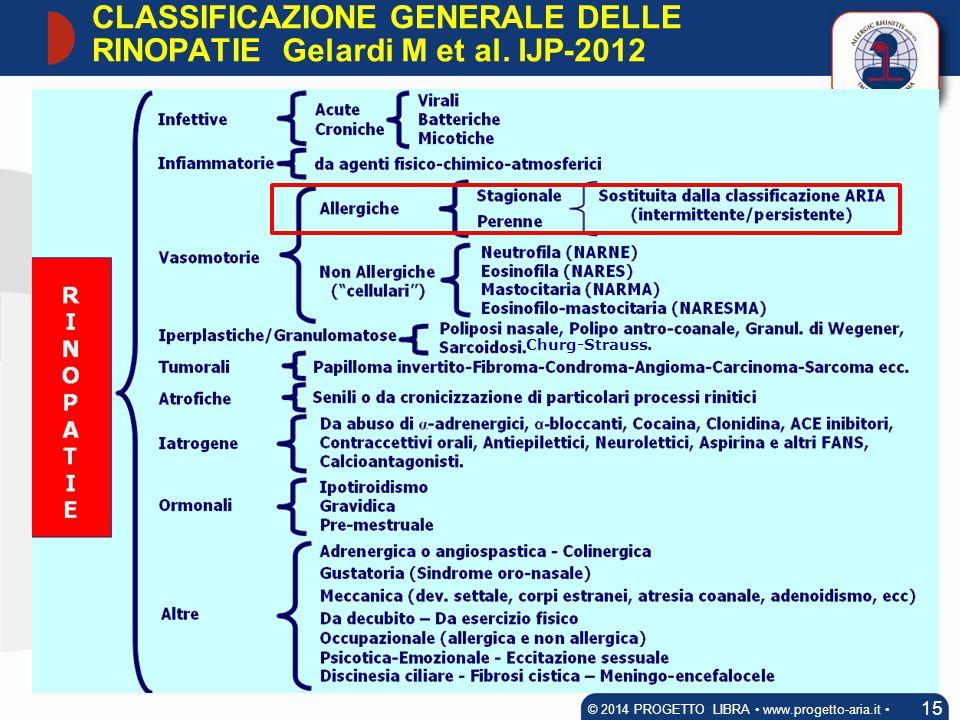 Churg-Strauss. CLASSIFICAZIONE GENERALE DELLE RINOPATIE 15 © 2014 PROGETTO LIBRA www.progetto-aria.it Gelardi M et al. IJP-2012