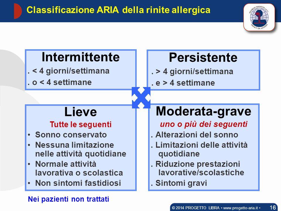 Classificazione ARIA della rinite allergica 16 © 2014 PROGETTO LIBRA www.progetto-aria.it Moderata-grave uno o più dei seguenti. Alterazioni del sonno