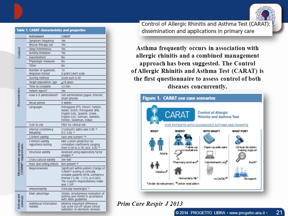 21 © 2014 PROGETTO LIBRA www.progetto-aria.it Prim Care Respir J 2013 Asthma frequently occurs in association with allergic rhinitis and a combined ma
