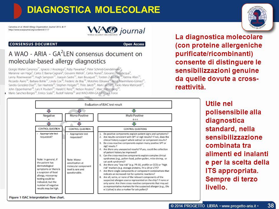 DIAGNOSTICA MOLECOLARE 38 © 2014 PROGETTO LIBRA www.progetto-aria.it La diagnostica molecolare (con proteine allergeniche purificate/ricombinanti) con