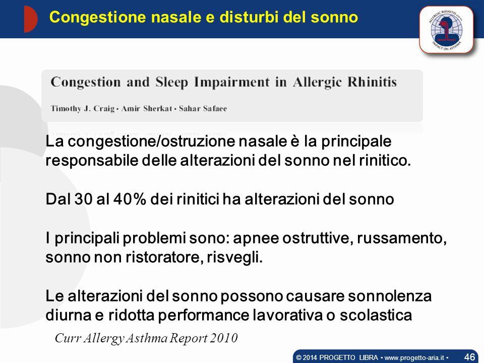 La congestione/ostruzione nasale è la principale responsabile delle alterazioni del sonno nel rinitico. Dal 30 al 40% dei rinitici ha alterazioni del