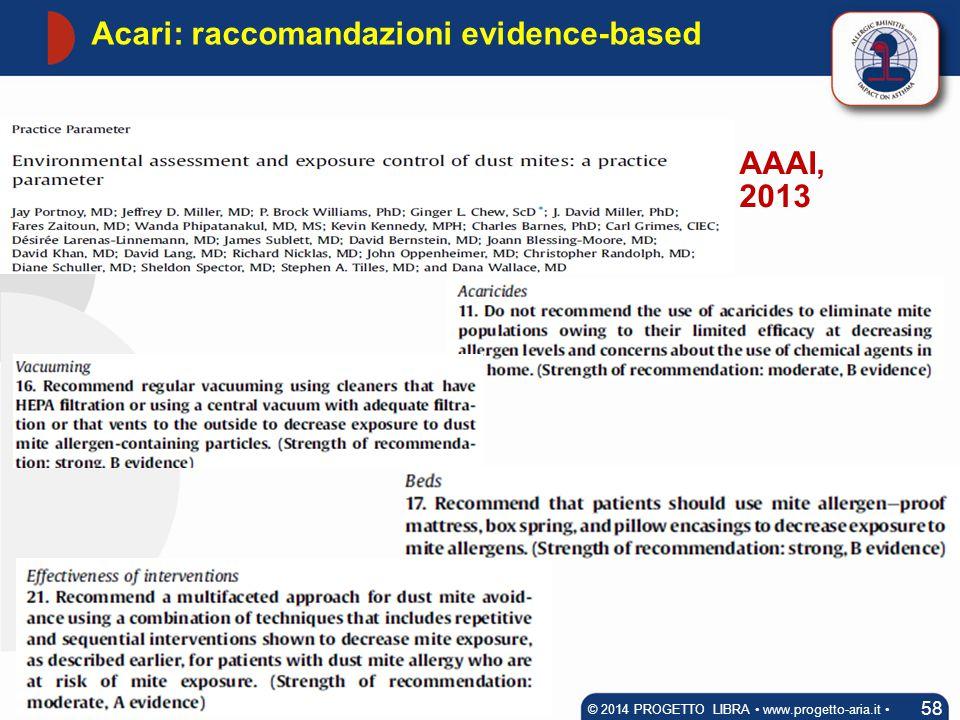 Acari: raccomandazioni evidence-based 58 © 2014 PROGETTO LIBRA www.progetto-aria.it AAAI, 2013
