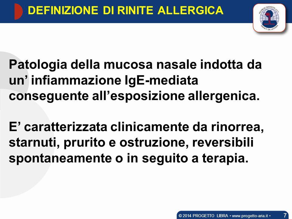 Patologia della mucosa nasale indotta da un' infiammazione IgE-mediata conseguente all'esposizione allergenica. E' caratterizzata clinicamente da rino