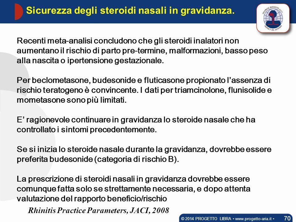 Recenti meta-analisi concludono che gli steroidi inalatori non aumentano il rischio di parto pre-termine, malformazioni, basso peso alla nascita o ipe