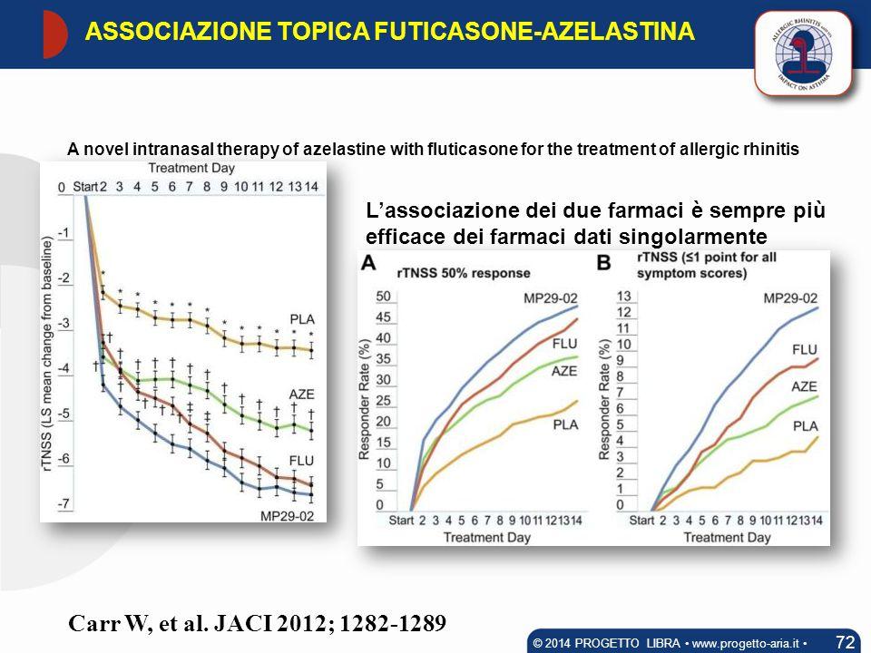 © 2014 PROGETTO LIBRA www.progetto-aria.it ASSOCIAZIONE TOPICA FUTICASONE-AZELASTINA. A novel intranasal therapy of azelastine with fluticasone for th