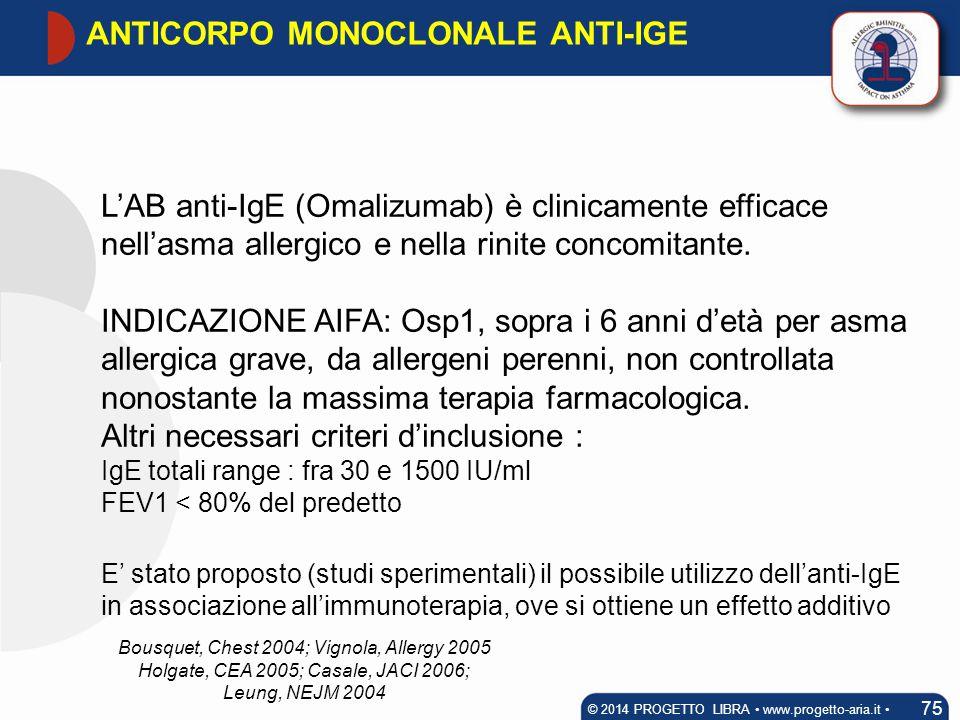 L'AB anti-IgE (Omalizumab) è clinicamente efficace nell'asma allergico e nella rinite concomitante. INDICAZIONE AIFA: Osp1, sopra i 6 anni d'età per a