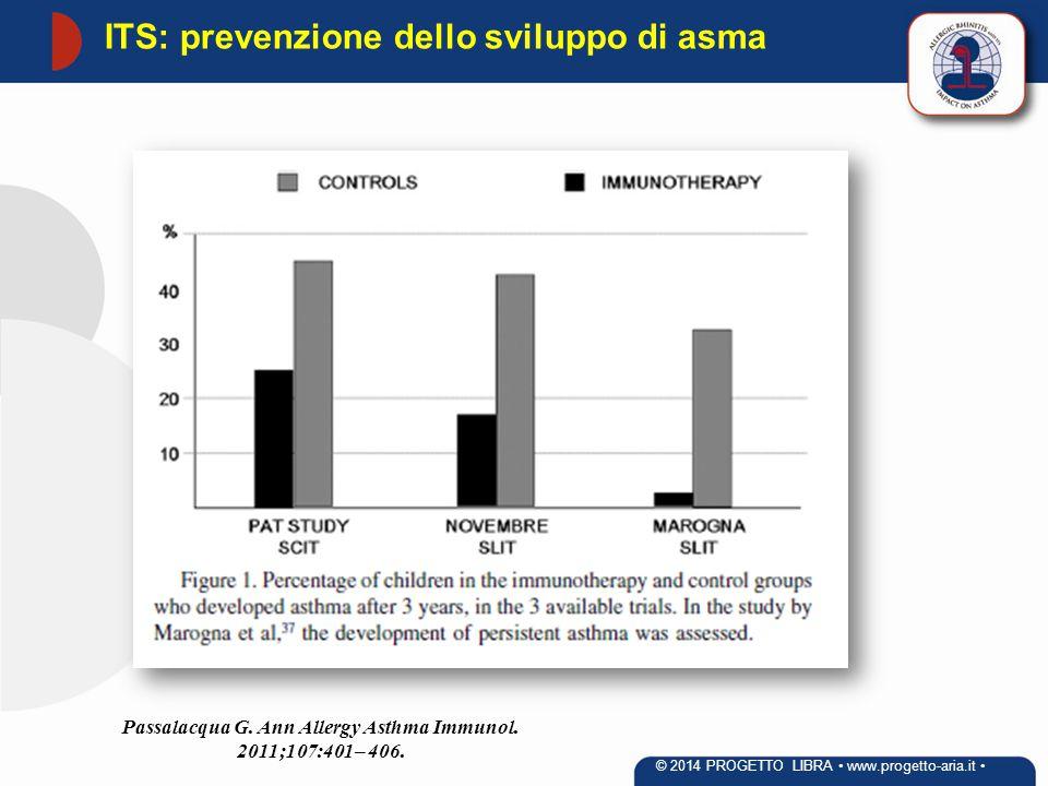 Passalacqua G. Ann Allergy Asthma Immunol. 2011;107:401– 406. ITS: prevenzione dello sviluppo di asma © 2014 PROGETTO LIBRA www.progetto-aria.it