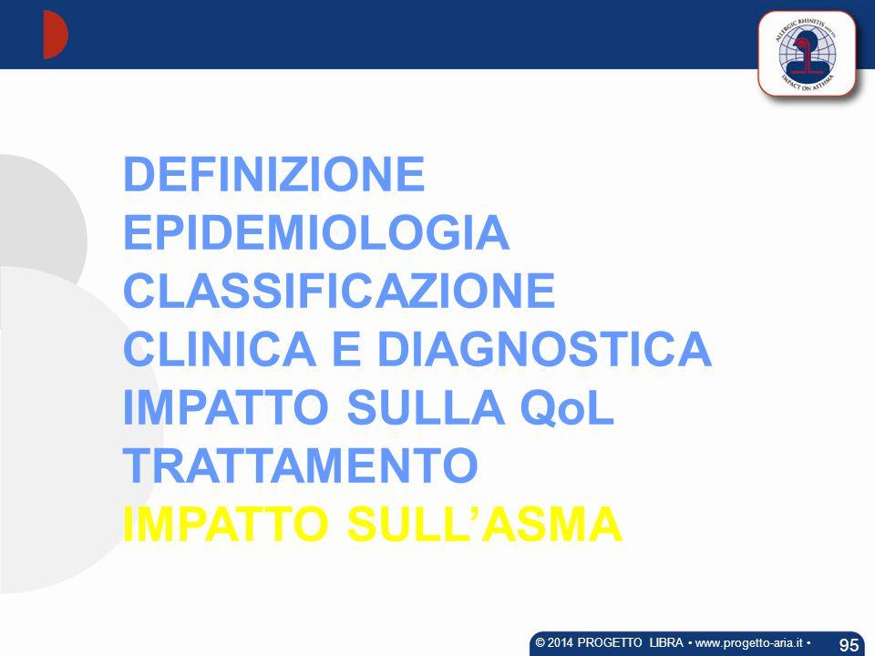 DEFINIZIONE EPIDEMIOLOGIA CLASSIFICAZIONE CLINICA E DIAGNOSTICA IMPATTO SULLA QoL TRATTAMENTO IMPATTO SULL'ASMA 95 © 2014 PROGETTO LIBRA www.progetto-