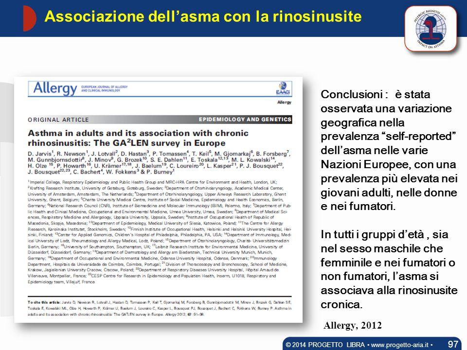 Associazione dell'asma con la rinosinusite 97 © 2014 PROGETTO LIBRA www.progetto-aria.it Conclusioni : è stata osservata una variazione geografica nel