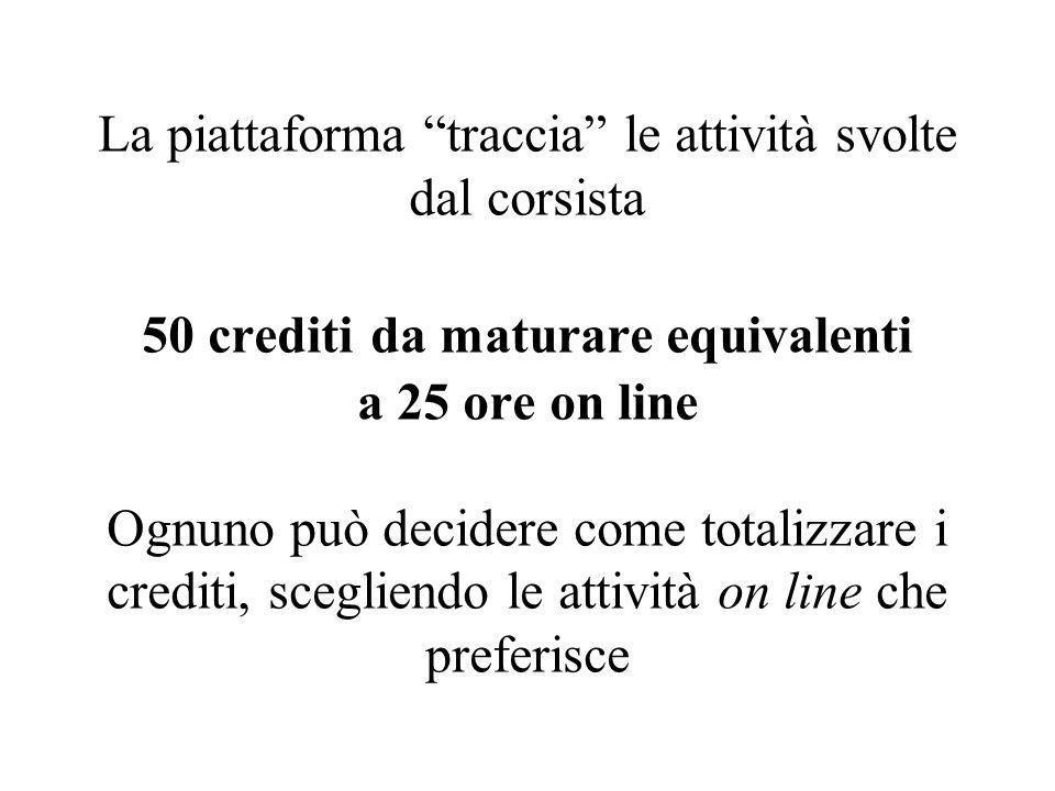 La piattaforma traccia le attività svolte dal corsista 50 crediti da maturare equivalenti a 25 ore on line Ognuno può decidere come totalizzare i crediti, scegliendo le attività on line che preferisce