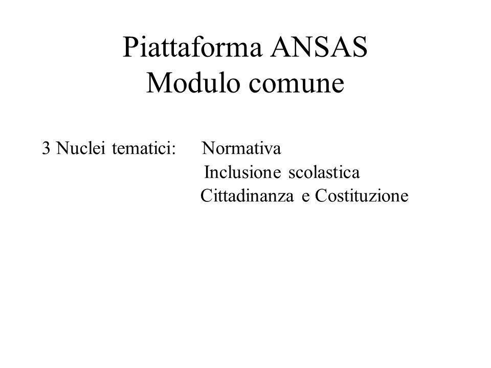 Piattaforma ANSAS Modulo comune 3 Nuclei tematici: Normativa Inclusione scolastica Cittadinanza e Costituzione