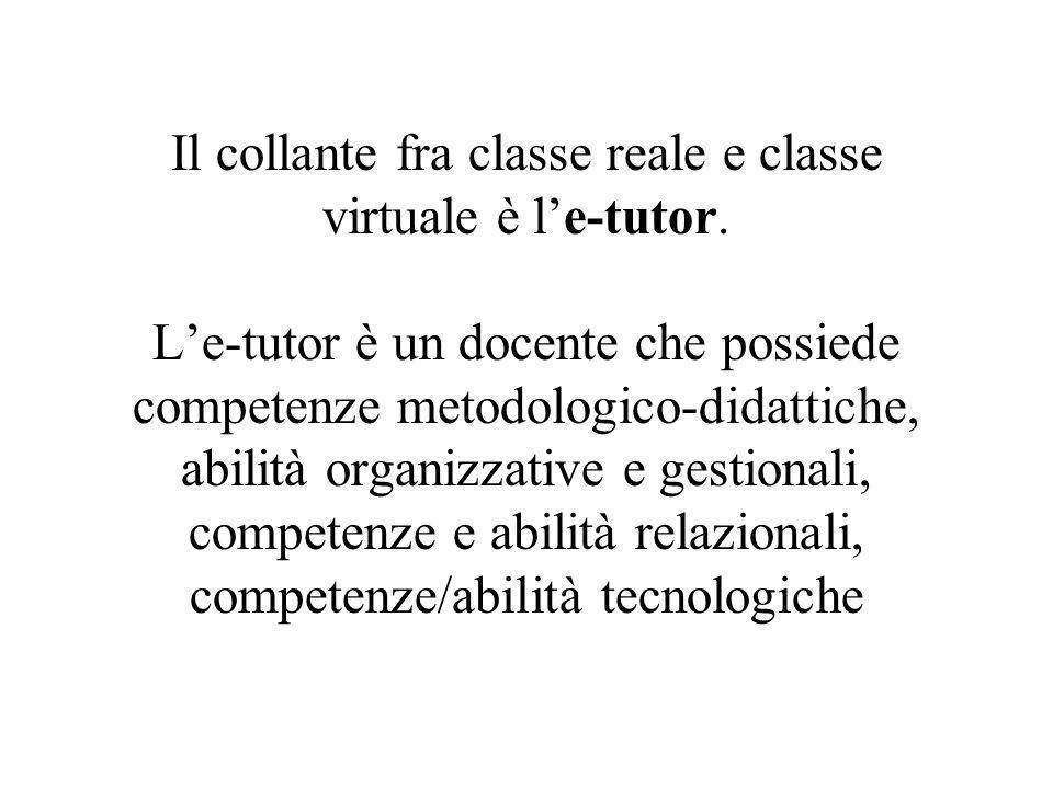 Il collante fra classe reale e classe virtuale è l'e-tutor. L'e-tutor è un docente che possiede competenze metodologico-didattiche, abilità organizzat