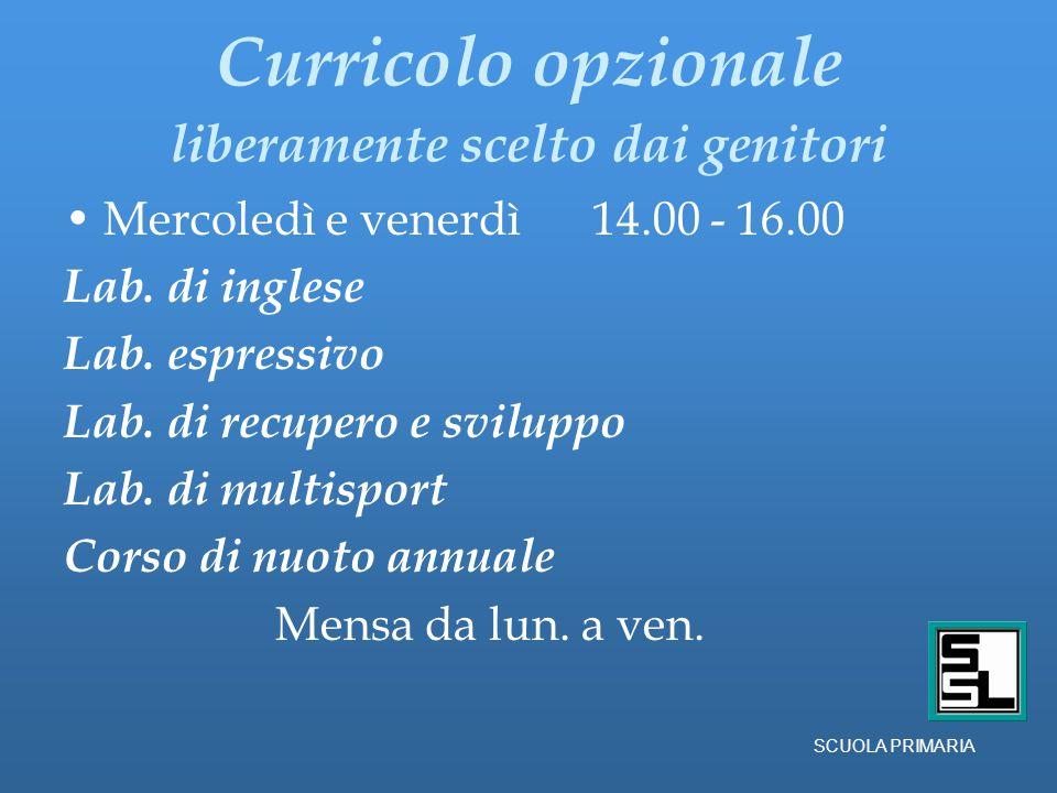 Curricolo opzionale liberamente scelto dai genitori Mercoledì e venerdì 14.00 - 16.00 Lab.