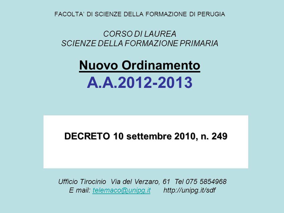 FACOLTA' DI SCIENZE DELLA FORMAZIONE DI PERUGIA CORSO DI LAUREA SCIENZE DELLA FORMAZIONE PRIMARIA Nuovo Ordinamento A.A.2012-2013 DECRETO 10 settembre 2010, n.