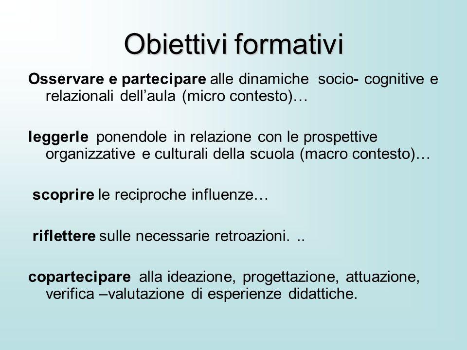 Obiettivi formativi Osservare e partecipare alle dinamiche socio- cognitive e relazionali dell'aula (micro contesto)… leggerle ponendole in relazione