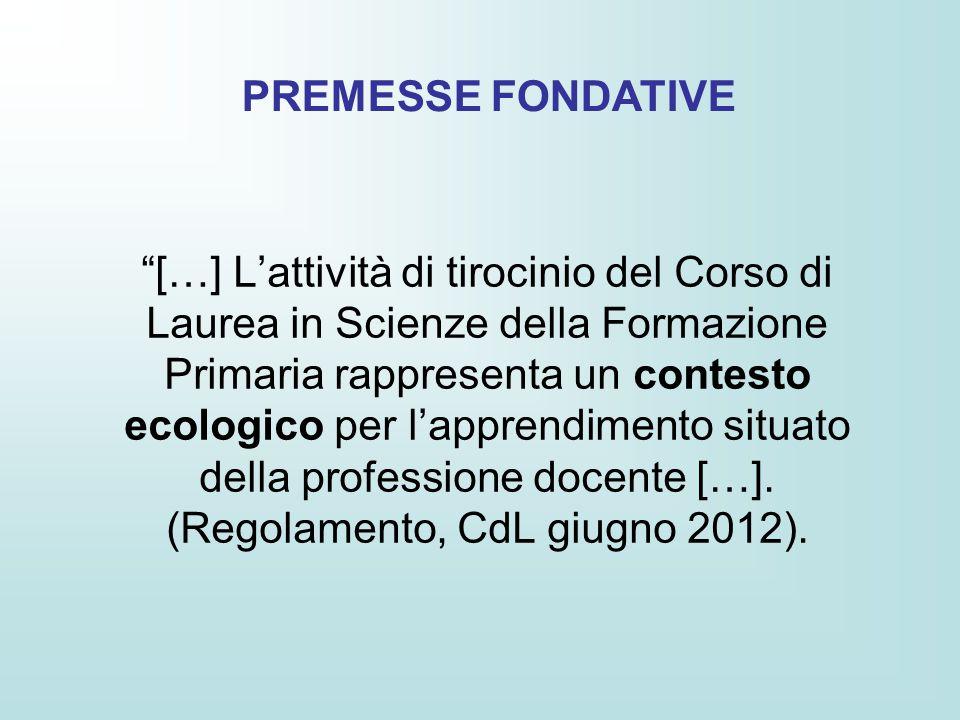 […] L'attività di tirocinio del Corso di Laurea in Scienze della Formazione Primaria rappresenta un contesto ecologico per l'apprendimento situato della professione docente […].