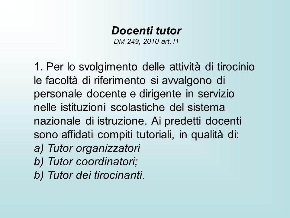 Docenti tutor DM 249, 2010 art.11 1. Per lo svolgimento delle attività di tirocinio le facoltà di riferimento si avvalgono di personale docente e diri