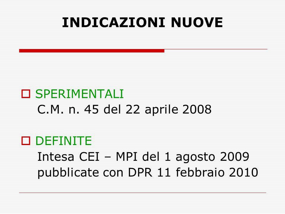 INDICAZIONI NUOVE  SPERIMENTALI C.M. n. 45 del 22 aprile 2008  DEFINITE Intesa CEI – MPI del 1 agosto 2009 pubblicate con DPR 11 febbraio 2010